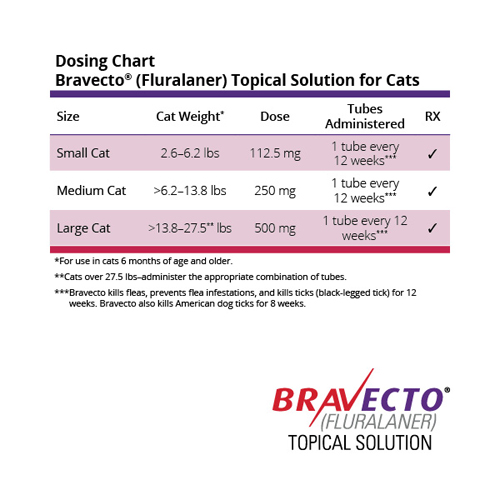 Bravecto Topical is administered every 12 weeks and available in 3 sizes for cats 2.6 lbs to 28 lbs.